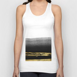Black & Gold Stripes on White- Mix & Match with Simplicty of life Unisex Tank Top
