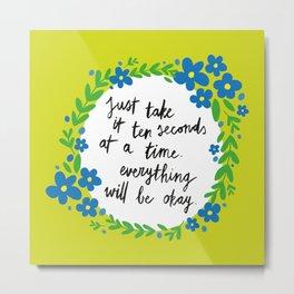 Ten Seconds - Lime Metal Print