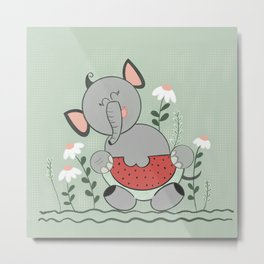 Baby elephant eating watermelon  Metal Print