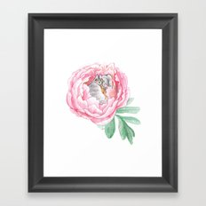 Cat Fairy and a Peony Framed Art Print