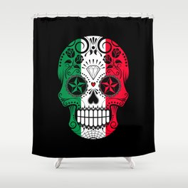 Sugar Skull with Roses and Flag of Italy Shower Curtain