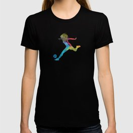 Woman soccer player 01 in watercolor T-shirt