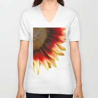 sunflower V-neck T-shirts featuring Sunflower by Wood-n-Images