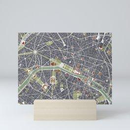 Paris city map engraving Mini Art Print