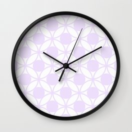 Geometric Circles In Delicate Pale Lilac and White Wall Clock
