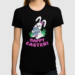 Happy Easter with cute bunny kepping ornamental egg T-shirt