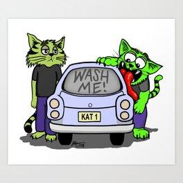 Wash Me Cats Art Print