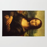 mona lisa Area & Throw Rugs featuring Mona Lisa by Elegant Chaos Gallery