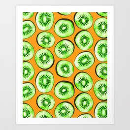 Kiwi slices on orange Art Print