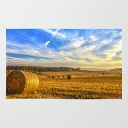 Hay Bales in Autumn Sun Rug