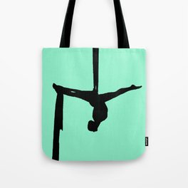 Aerial Silk Silhouette on Mint Tote Bag