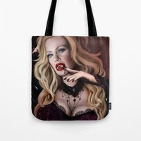 true blood Tote Bags featuring Pam de Beaufort of True Blood by Jaime Gervais