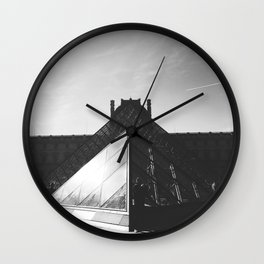 The Pyramid du Louvre in Black and White Wall Clock