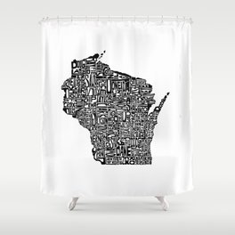 Typographic Wisconsin Shower Curtain
