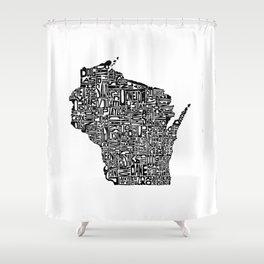 Typographic Wisconsin Shower Curtain