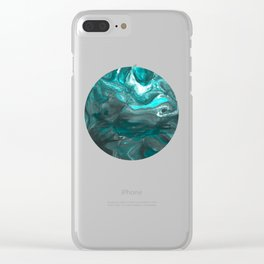 Dark Clouds Gathering - Teal & Grey Marbling Clear iPhone Case