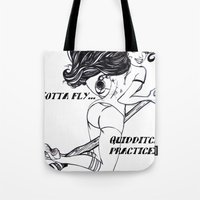 quidditch Tote Bags featuring Gotta Fly! Quidditch Practice! by ArtRhapsody