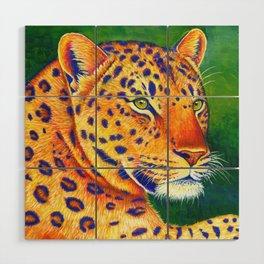 Colorful Leopard Big Cat Wild Cat Wood Wall Art