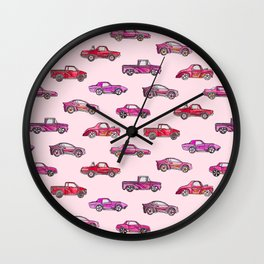 Little Toy Cars in Watercolor on Pink Wall Clock