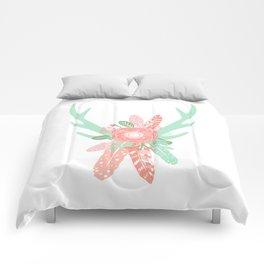 Deer antler florals flower bouquet with antlers minimal boho nursery art decor Comforters