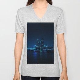 The Blue City Night (Color) Unisex V-Neck