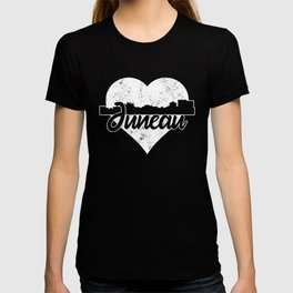 Retro Juneau Alaska Skyline Heart Distressed T-shirt
