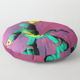 Red mask turtle Floor Pillow