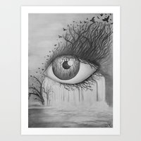 Eye with Waterfall Pencil Drawing  Art Print