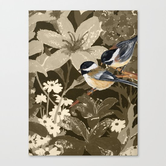 Bird-Chickadees with Lillies Canvas Print