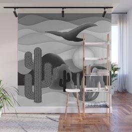 3D Desert Sunset - Black White Gray Wall Mural