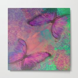 Butterfly Love Abstract Metal Print