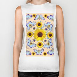 WHITE-PURPLE BUTTERFLIES YELLOW SUNFLOWERS CREAMY ART Biker Tank