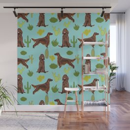 Irish Setter cactus southwest desert dog breed cute gift for dog lover pupper portrait pattern gifts Wall Mural