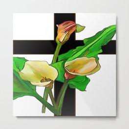Three Calla Lilies And Christian Cross Metal Print