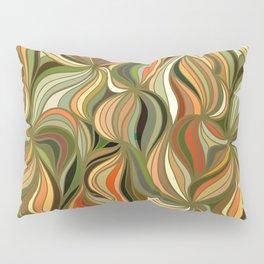 Boho Green & Red Wave Pattern Pillow Sham