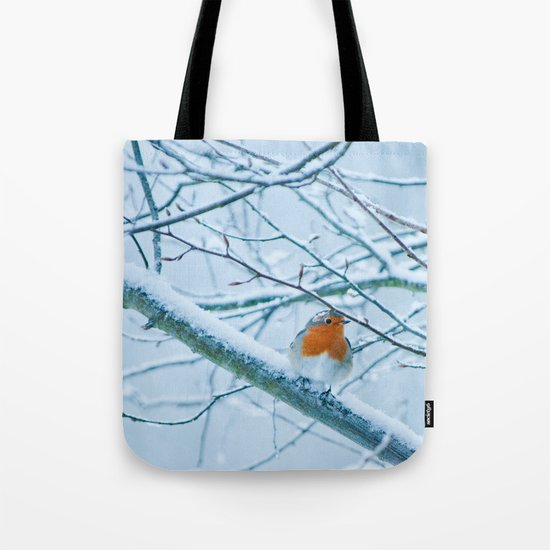 Robin in the cold Tote Bag