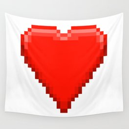 Retro Video Game Heart Pixel Art Wall Tapestry