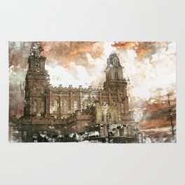 Manti LDS Temple Watercolor Photo Rug