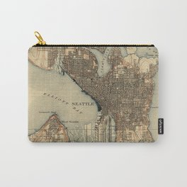 Vintage Map of Seattle Washington (1908) 2 Carry-All Pouch