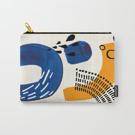 Fun Colorful Abstract Mid Century Minimalist Navy Blue Yellow Organic Shapes Water Drops Patterns Carry-All Pouch