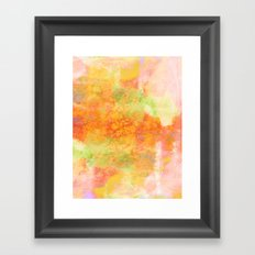 PASTEL IMAGININGS 3 Colorful Pretty Spring Summer Orange Yellow Peach Abstract Watercolor Painting Framed Art Print