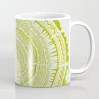 tree rings Mugs featuring Lime Tree Rings by Cat Coquillette