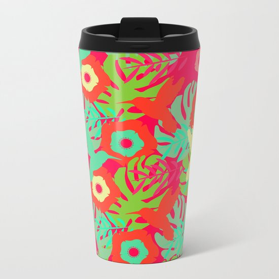 Tropical pattern with hummingbirds Metal Travel Mug