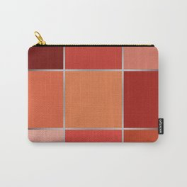 Geometrical gradient red brown squares patchwork patches pieces background Carry-All Pouch