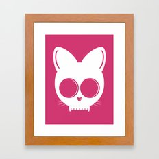 Skull Cat Pink Framed Art Print