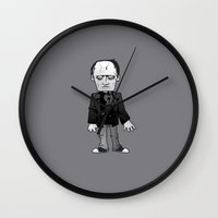 frankenstein Wall Clocks featuring Frankenstein  by Marco D Carrillo
