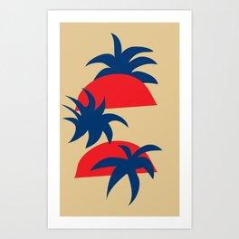 Sunrise and palm tree - mustard Art Print