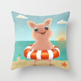 Piggy on the beach // Summer vibes // Hand drawn cute piglet character with swim ring Throw Pillow