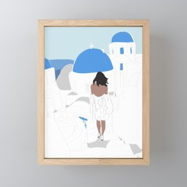 Fashion Travel Girl Wandering the Steps of Santorini, Greece Framed Mini Art Print