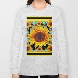 Western Black & Yellow Sunflowers Deco Art Long Sleeve T-shirt